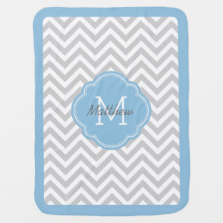 Gray and Sky Blue Chevron Monogram Baby Blanket