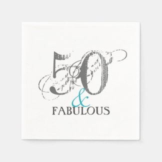 Gray and Teal 50th Birthday | Paper Party Napkins Disposable Napkins