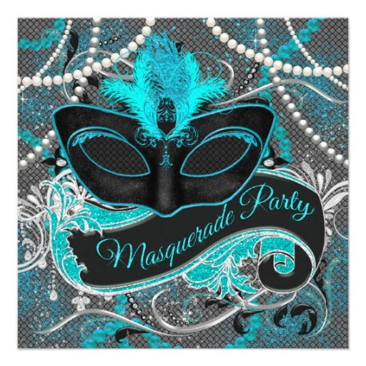 Gray and Teal Blue Masquerade Party Personalized Invite