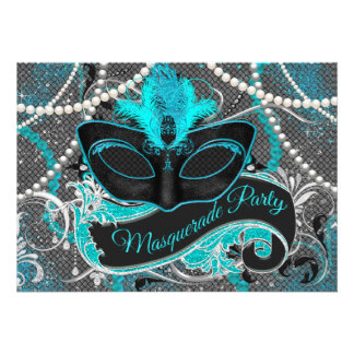 Gray and Teal Blue Masquerade Party Invitations