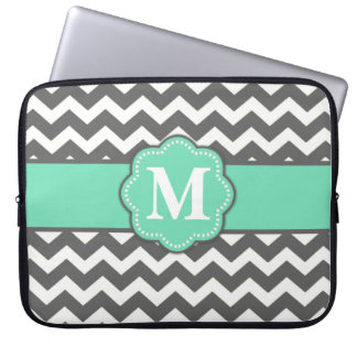 Gray and Teal Chevron Monogram Laptop Sleeve