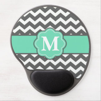 Gray and Teal Chevron Monogram Mousepad Gel Mouse Mat