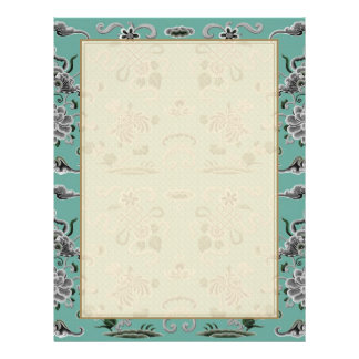 Gray and Teal Flowers and Shapes 21.5 Cm X 28 Cm Flyer