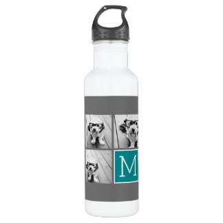 Gray and Teal Instagram Photo Collage Monogram 710 Ml Water Bottle