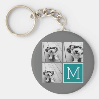 Gray and Teal Instagram Photo Collage Monogram Basic Round Button Key Ring