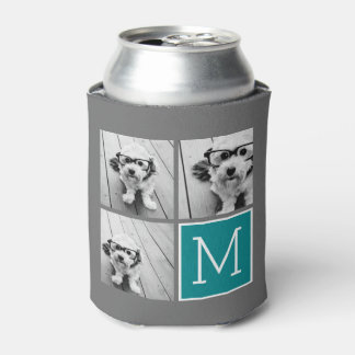Gray and Teal Instagram Photo Collage Monogram Can Cooler