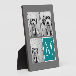 Gray and Teal Instagram Photo Collage Monogram Plaque