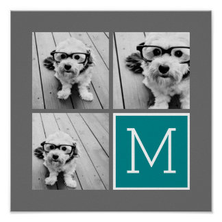 Gray and Teal Instagram Photo Collage Monogram Poster
