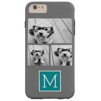 Gray and Teal Instagram Photo Collage Monogram Tough iPhone 6 Plus Case