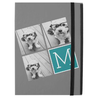 """Gray and Teal Photo Collage Monogram iPad Pro 12.9"""" Case"""