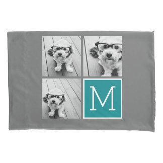 Gray and Teal Photo Collage Monogram Pillowcase