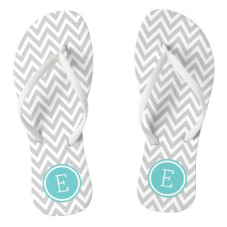 Gray and Turquoise Chevron Monogram Flip Flops