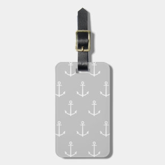Gray and White Anchors Pattern 1 Luggage Tag