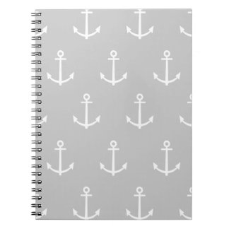 Gray and White Anchors Pattern 1 Notebooks