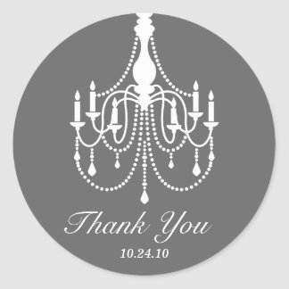 Gray and White Chandelier Thank You Classic Round Sticker