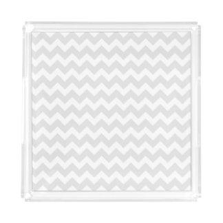 Gray and White Chevron Acrylic Tray