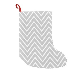 Gray and White Chevron Pattern 2 Small Christmas Stocking