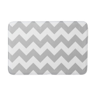 Gray and White Chevron Print Bath Mat