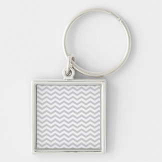 Gray And White Chevron Print Key Chain