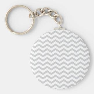 Gray And White Chevron Print Keychain
