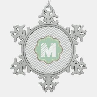 Gray and White Chevron Snowflake Pewter Christmas Ornament