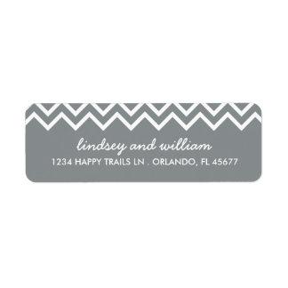 Gray and White Chevron Wedding Address Labels
