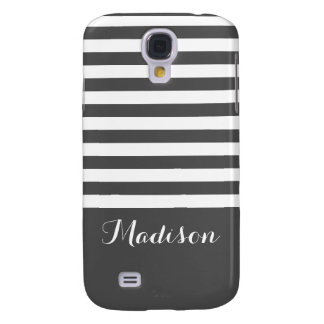 Gray and White Classic Stripes Monogram Galaxy S4 Case