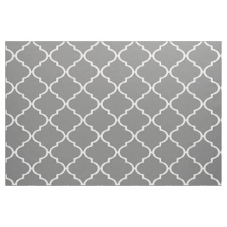 Gray and White Custom Quatrefoil Fabric