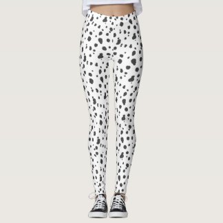 Gray and White Dalmatian Print Leggings