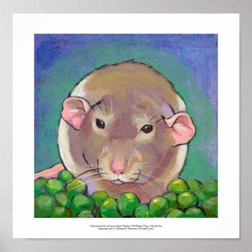 Gray and white dumbo rat painting fun art poster