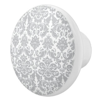 Gray and White Elegant Damask Pattern Ceramic Knob