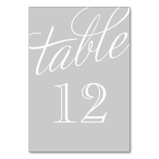Gray and White Elegant Script Table Numbers