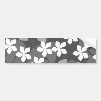 Gray and White Flowers. Floral Pattern. Bumper Sticker