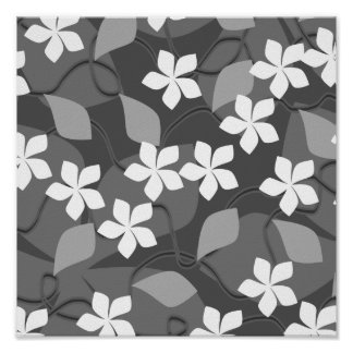 Gray and White Flowers Floral Pattern Posters