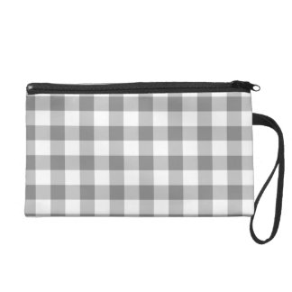 Gray And White Gingham Check Pattern Wristlet Clutch