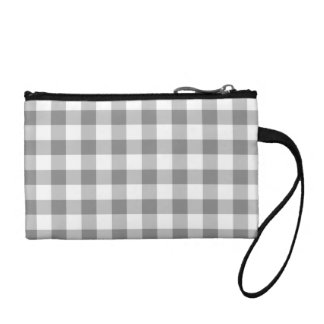Gray And White Gingham Check Pattern Coin Wallets