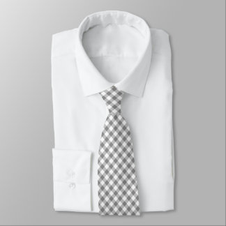 Gray And White Gingham Tie
