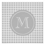 Gray and White Gingham, Your Monogram Posters