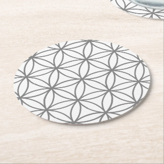 Gray and White Graphic Lotus Flower Design Round Paper Coaster