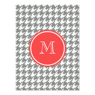 Gray and White Houndstooth Coral Monogram Personalized Announcement