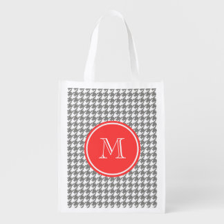 Gray and White Houndstooth Coral Monogram Reusable Grocery Bag