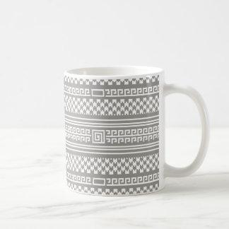 Gray And White Houndstooth With Spirals Basic White Mug
