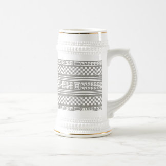 Gray And White Houndstooth With Spirals Beer Steins