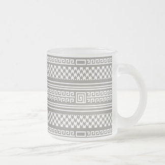 Gray And White Houndstooth With Spirals Frosted Glass Mug