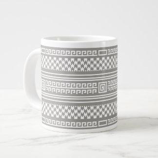 Gray And White Houndstooth With Spirals Jumbo Mug