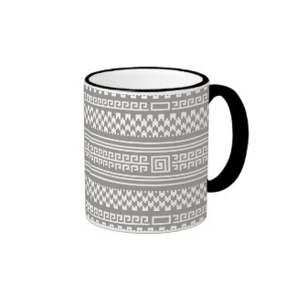 Gray And White Houndstooth With Spirals Ringer Mug