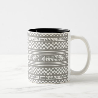 Gray And White Houndstooth With Spirals Two-Tone Mug