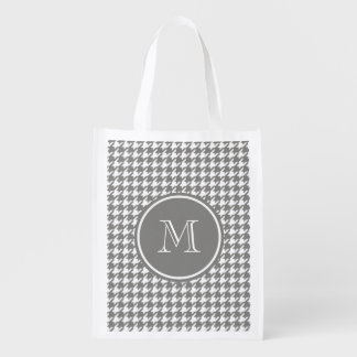 Gray and White Houndstooth Your Monogram