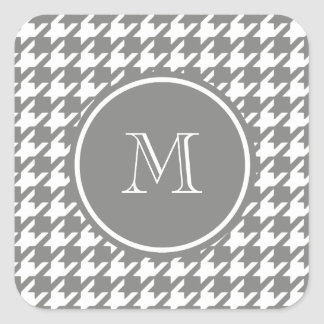 Gray and White Houndstooth Your Monogram Square Sticker