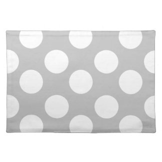 Gray and White Large Polka Dot Placemat